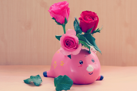 still life flowers: still life flowers, Roses flowers in pink ping vase, vintage tone Stock Photo