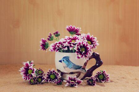 still life flowers: still life flowers, Chrysanthemum in vase Stock Photo