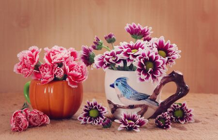 still life flowers: still life flowers, Chrysanthemum and carnation in vase Stock Photo