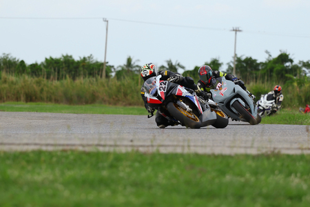 fast lane: Nakhon Pathom, Thailand - July 25, 2015: The official qualifying for the R2M Thailand SuperBikes 2015 tournaments Was held at Thailand Circuit Nakhonchaisri Motor Sport Complex.