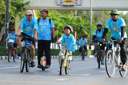 83rd: Bangkok, Thailand - August 16, 2015:Queen Sirikit, Bike for Mom to mark her 83rd birthday. the queen's birthday on 12 August which is also a national holiday and celebrated as Mother's Day in Thailand Editorial