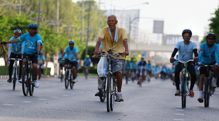 celebrated: Bangkok, Thailand - August 16, 2015:Queen Sirikit, Bike for Mom to mark her 83rd birthday. the queen's birthday on 12 August which is also a national holiday and celebrated as Mother's Day in Thailand
