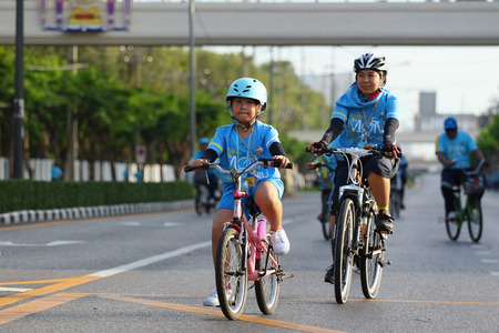 restlessness: Bangkok, Thailand - August 16, 2015:Queen Sirikit, Bike for Mom to mark her 83rd birthday. the queen's birthday on 12 August which is also a national holiday and celebrated as Mother's Day in Thailand