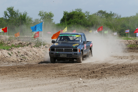 fast lane: Chachoengsao, Thailand - August 12, 2015: JR Tire Thailand Auto Cross Championship 2015 tournaments, Was held at Bang Pakong Circuit, Chachoengsao, Thailand.