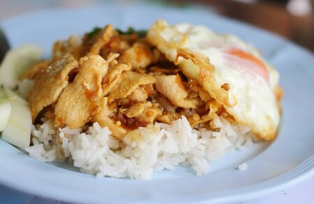 asian flavors: Thailand food, Basil fried chicken and fried egg, Kapoa Kai and fried egg are the popular menu of Thai