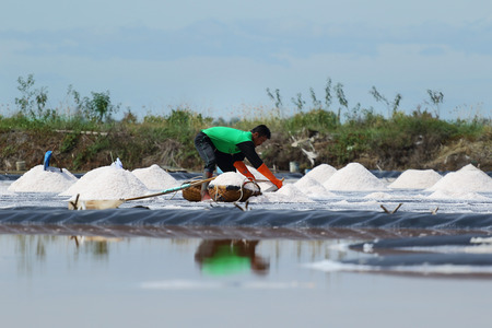 pan tropical: Phetchaburi, Thailand - September 9, 2015: Agriculture in Thailand, Workers working in the salt farm in Phetchaburi, Thailand. Editorial