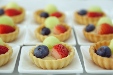 fruit plate: Fruit Pudding on a white plate.