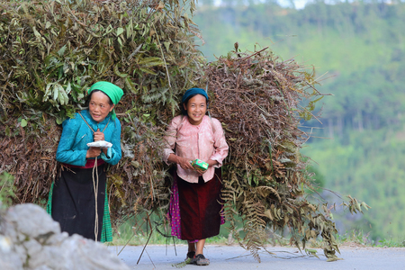 lineage: Ha Giang, Vietnam - September 19, 2015: Hmong in Vietnam, In the northern province of Ha Giang in Vietnam. An area adjacent to China. Editorial