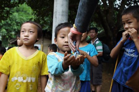 ha giang: Ha Giang, Vietnam - September 18, 2015: Hmong children in Vietnam, In the northern province of Ha Giang in Vietnam. An area adjacent to China. Editorial