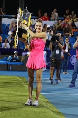 ranked: Hua Hin, Thailand - January 1, 2016: Agnieszka Radwanska is ranked 5th in the world. World Tennis Thailand Championship 2016 at True Arena Hua Hin sport club, Prachuap Khiri Khan.