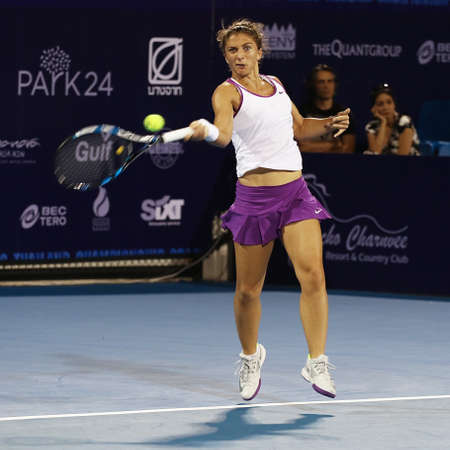 ranked: Hua Hin, Thailand - January 1, 2016: Sara Erraniis ranked 19th in the world. World Tennis Thailand Championship 2016 at True Arena Hua Hin sport club, Prachuap Khiri Khan.