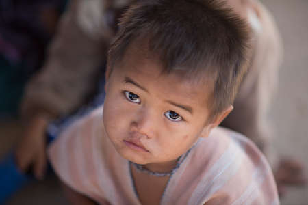 nationality: Chiang Mai, Thailand - January 21, 2016: Children Karen in Omkoi, Omkoi is the southwesternmost district of Chiang Mai Province in northern Thailand.