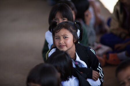 lineage: Chiang Mai, Thailand - January 21, 2016: Children Karen in Omkoi, Omkoi is the southwesternmost district of Chiang Mai Province in northern Thailand.