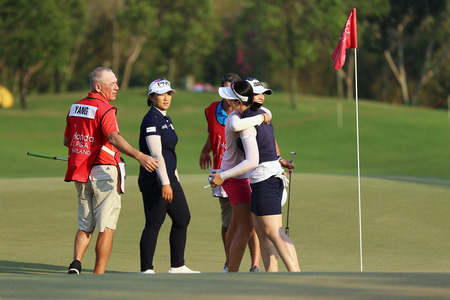 country club: PATTAYA, THAILAND - February 27, 2016: Jenny Shin, Amy Yang and Jessica Korda plays the shot of the 2016 LPGA Thailand at Siam Country Club in Chonburi.