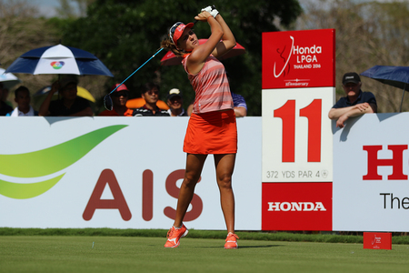 country club: PATTAYA, THAILAND - February 27, 2016: Lexi Thompson of USA plays the shot of the 2016 LPGA Thailand at Siam Country Club in Chonburi.