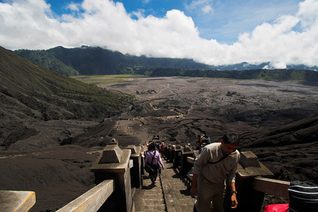 smut: Java, Indonesia - April 3, 2016: Many tourists Travel to Mount Bromo, Mount Bromo is an active volcano and part of the Tengger massif, in East Java, Indonesia. At 2,329 metres.