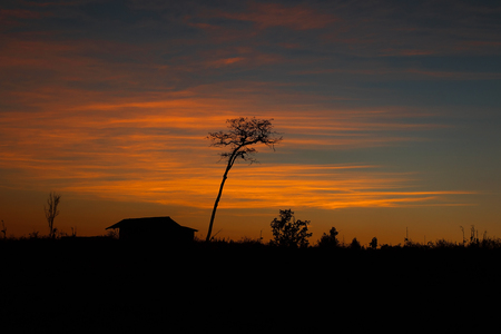skyscapes: silhouette of the sunset Stock Photo