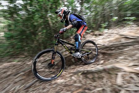 combines: Prachinburi, Thailand -June 05, 2016: Thailand Enduro Series 2016. Mountain bike races at Kao E-TO, which combines cross-country mountain bike downhill, on June 4-6, 2016.