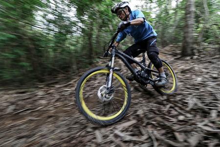 velodrome: Prachinburi, Thailand -June 05, 2016: Thailand Enduro Series 2016. Mountain bike races at Kao E-TO, which combines cross-country mountain bike downhill, on June 4-6, 2016.
