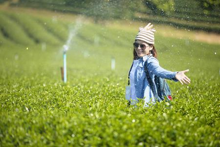 Traveler enjoying in the tea plantation.