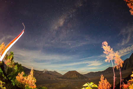 Milky Way, Mount Bromo, is an active volcano and part of the Tengger massif, in East Java, Indonesia. Stock Photo