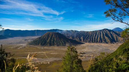 Mount Bromo, is an active volcano and part of the Tengger massif, in East Java, Indonesia. Stock Photo