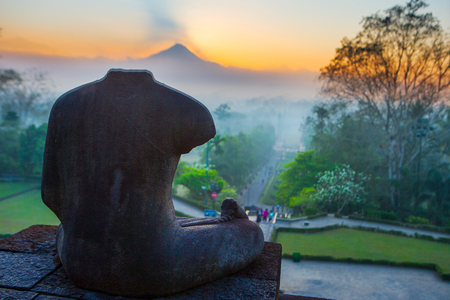 The sunrise at Borobudur, Indonesia Foto de archivo