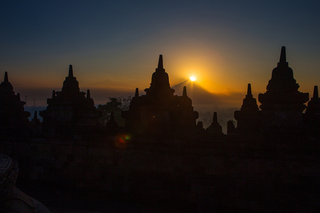 The sunrise at Borobudur, Indonesia Stock Photo