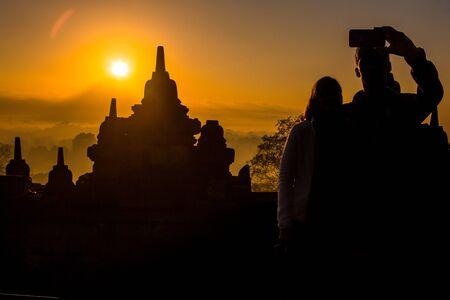 Selfie, sunrise at Borobudur, Indonesia Imagens