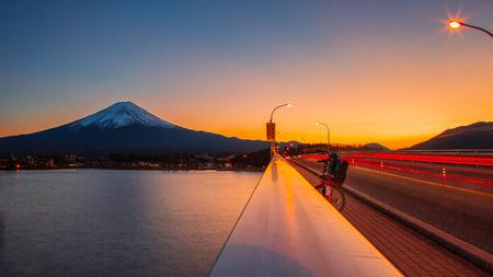 Fuji winter and the bridge in the evening Sajtókép