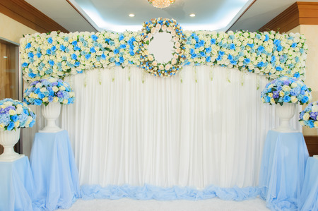 curtain background: Beautiful flowers background for wedding scene Stock Photo