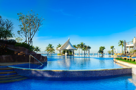 swimming pool near beach,Pattya Thailand Stock Photo