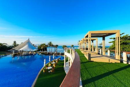 pool rooms: swimming pool near beach,Pattya Thailand Stock Photo