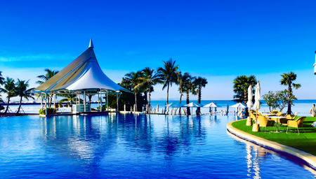 swimming pool near beach,Pattya Thailand Editorial