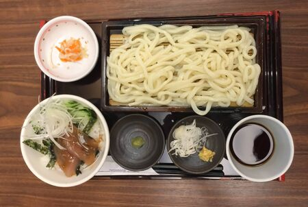xwhite: Mini Rice with Tuna in Sesame Soy Sauce Served with Cold Udon Noodle , Japanese food