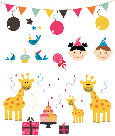 birthday party: 100% Vector Birthday Party Set Illustration