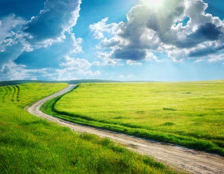 single lane road: Road lane and deep blue sky  Nature design