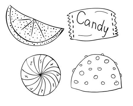 Four sweets. Chocolate with nuts, packaged, round candy, marmalade. Caramel, sweetness, striped. Freehand outline drawing, vector. Black and white. Illustration