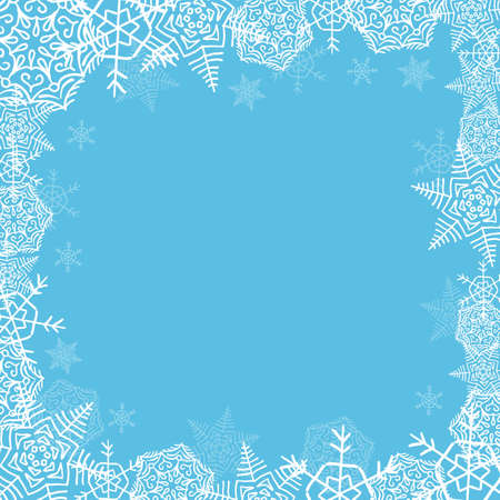 frame from white snowflakes of different sizes and transparency, framing, square shape on a blue background
