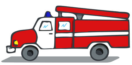 Fire engine sketch. A red and white truck with a flashing light, volumetric with a shadow. Fire Department. Иллюстрация