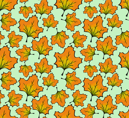 Seamless repeating pattern.Autumn falling orange maple leaf. Freehand sketch in color with dark outline.