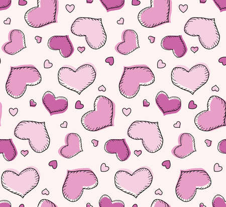 Seamless repeating pattern, heart pink for valentine's day, different sizes. The fill does not match the path. Freehand drawing, vector.