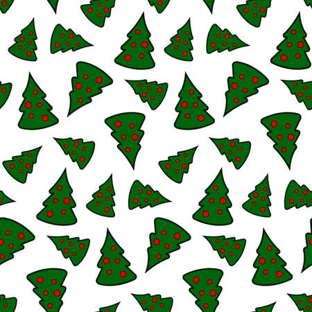 Seamless repeating pattern. Green Christmas tree, with red balls. Over white background, vector.