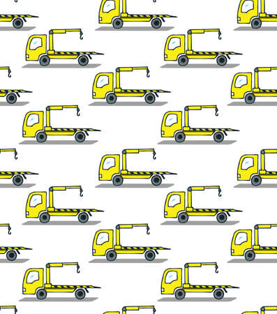 Seamless repeating pattern. The yellow tow truck is going from left to right. Freehand sketch in color with dark outline.