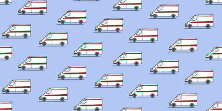 A seamless repeating pattern. Ambulances side view, going from right to left. Freehand sketch of manina with shadow.