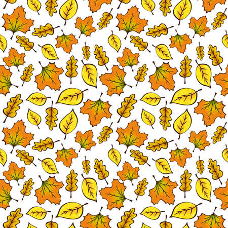 Seamless repeating pattern. Autumn leaves are yellow and orange, maple, oak and plain. Freehand sketch in color with dark outline.