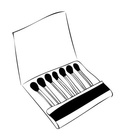 Matchbox, flat advertising, open, inside a match. Freehand outline drawing, vector. Black and white.