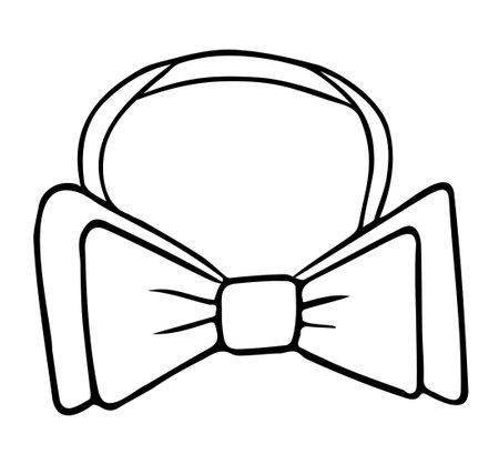 Classic double bow tie, hand drawn contour sketch. Black and white. Doodle. Vecteurs