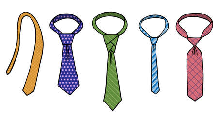 A set of ties with patterns of different sizes and shapes. Checked, striped and with circles. Hand drawn colored isolated objects. Doodle. Vecteurs