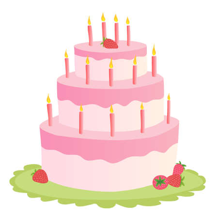 Three-tiered pink cake with burning candles and fresh strawberries. On a green tray. Color image on a white background. Doodle.